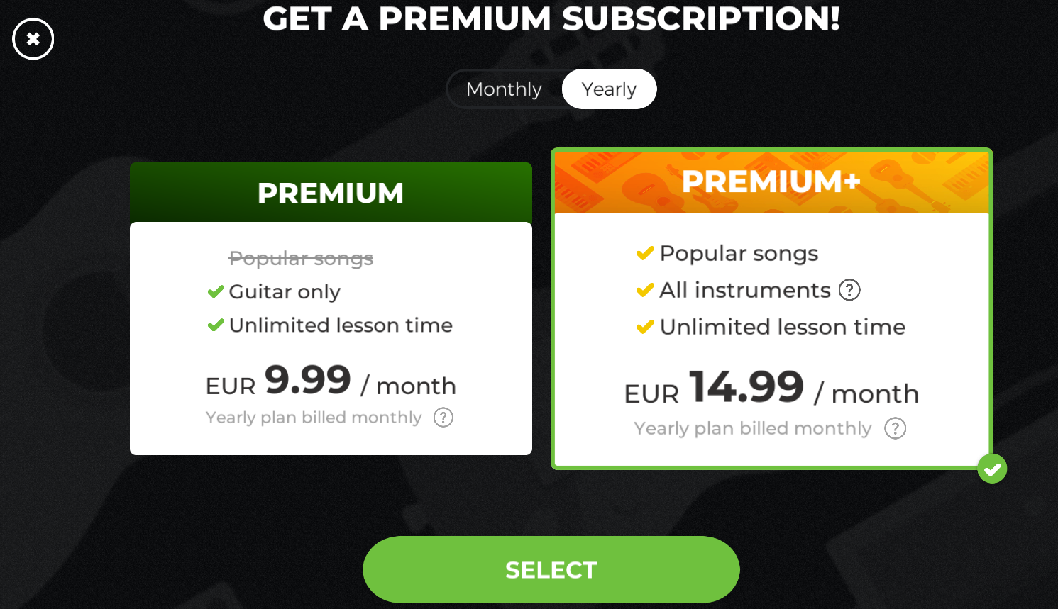 how to purchase a premium subscription yousician support